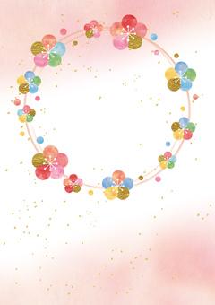 梅の輪_ピンク和紙_縦型2216