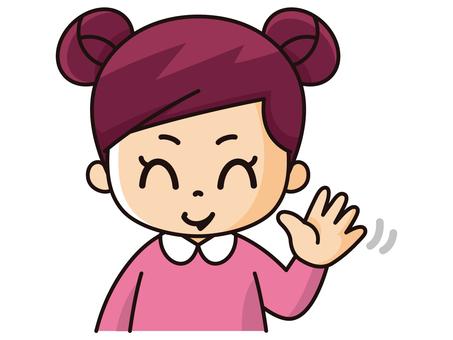 손 흔들기 여자