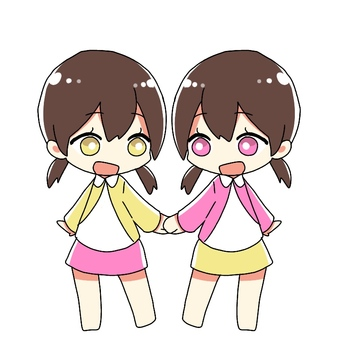 Twin girls holding hands