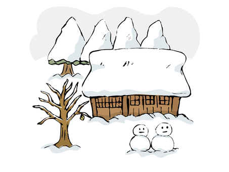 Old country snow scene