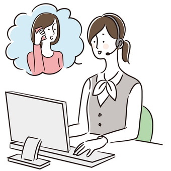 Illustration of a call center woman (uniform 2)