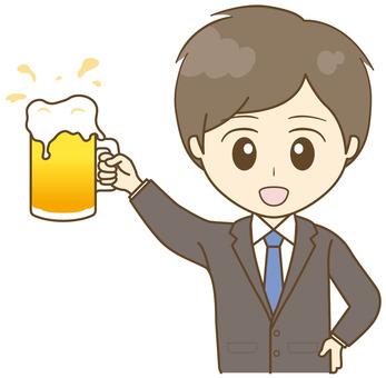 Men in suit toast with draft beer !!