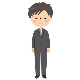 Cute suit Men's cry illustration
