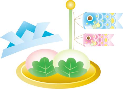 Koinobori and Kashiwo cake and helmet