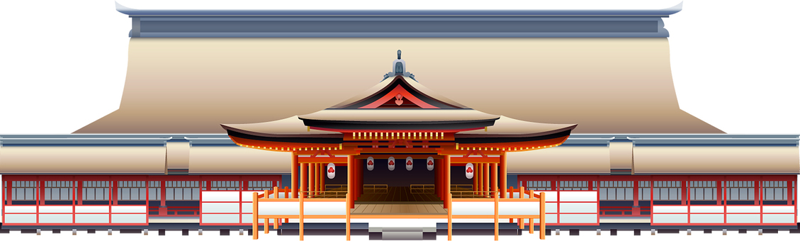 World Heritage Site of Hiroshima Itsukushima Shrine. Background frame