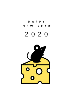 2020 New Year card rat and cheese