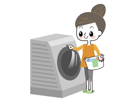 Laundry, woman, lady