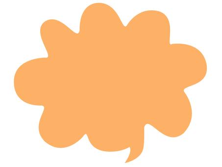 ふわふわ雲吹き出し オレンジ