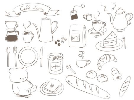 Breakfast Handwritten Drawing Illustration Set