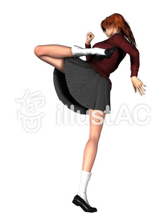 女子高生回し蹴りのイラスト