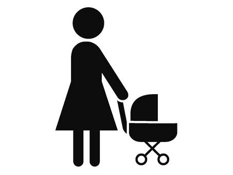 Woman pushing a human stroller icon