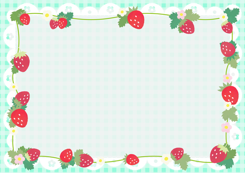 Strawberry gingham pattern background (mint)