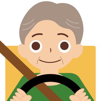 Driving a car (older man)