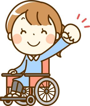 Girls pose wheelchair girl