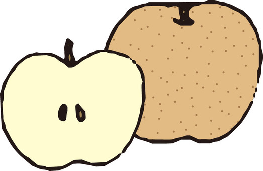 Fruit (pear / brown cross section)