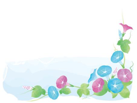 나팔꽃 프레임 수채화 풍
