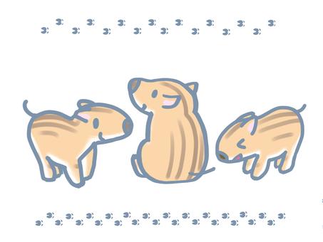 Urabo footprint set Inogai New Year's cards cute