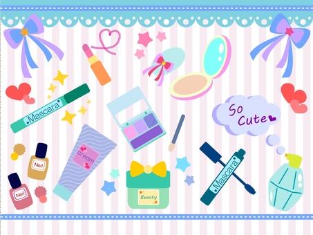 Illustration of various cosmetics