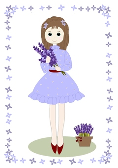 A girl holding a lavender