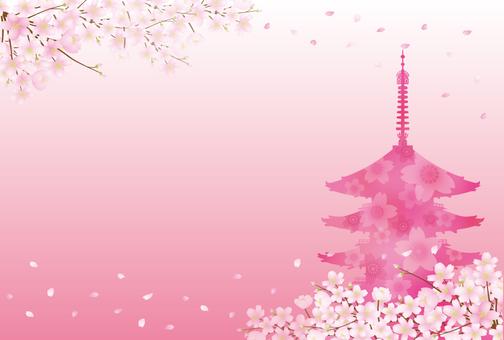 Sakura and five-storied pagoda 2