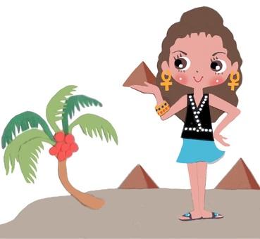Egypt pyramid and female tourist