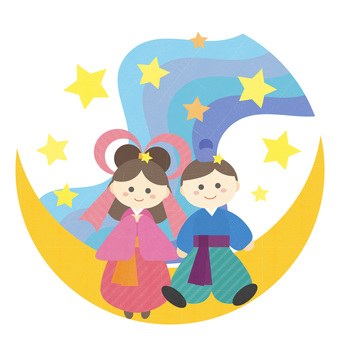 Cute illustration of Tanabata