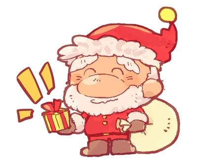 Santa giving a gift