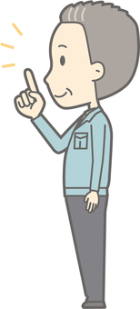 Middle-aged man work clothes - finger-pointing left side - whole body