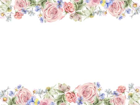 Flower frame 223 - Rose and pansy, cute flower frame
