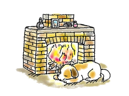 Fireplace and dog