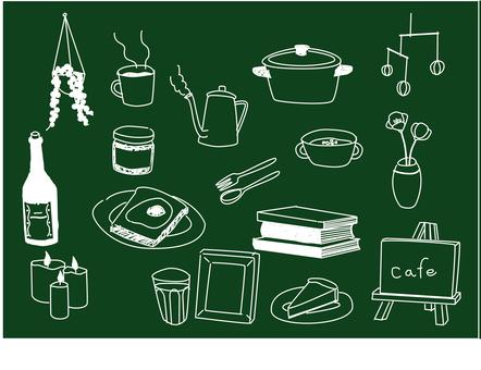 White line cafe / cafe-like line drawing set for blackboard
