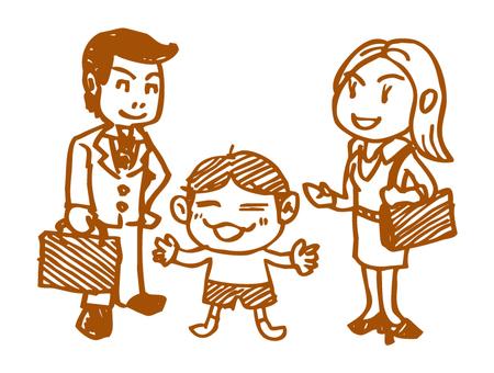Manga style family _ All members _ Brown
