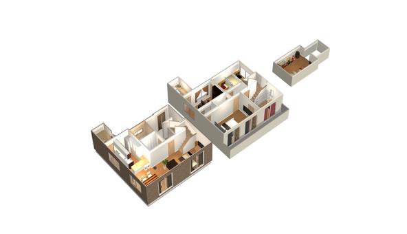 4LDK Floor plan ① (3-D solid, with furniture)