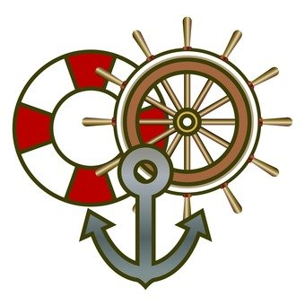 Anchor, rudder and floating wheel