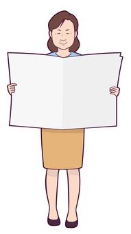Aunt reading newspaper