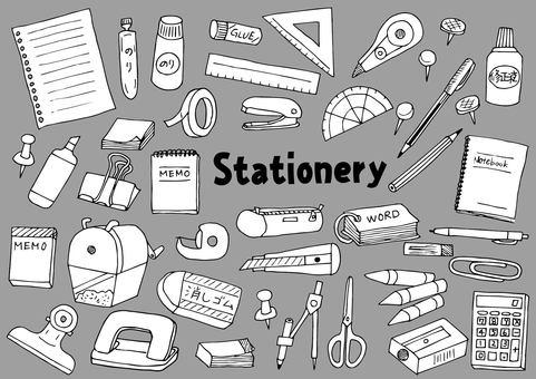 Stationery illustration set (black and white)