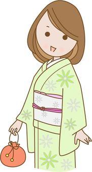 A woman in kimono shape