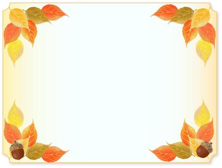 낙엽의 테두리 도토리있는