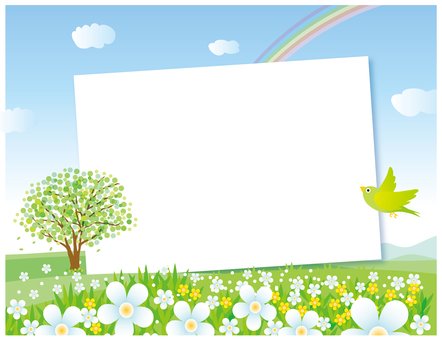 Flower blooming hill landscape frame