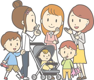 Three mama friends Child teenage conversation - whole body