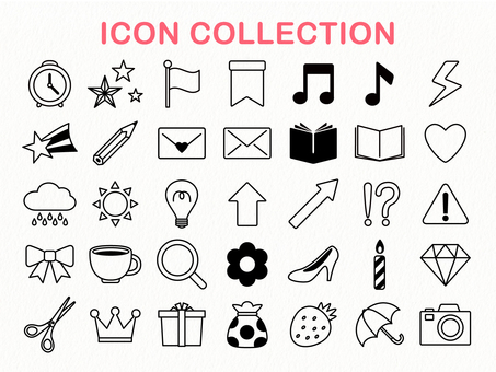 Simple monochrome icon collection