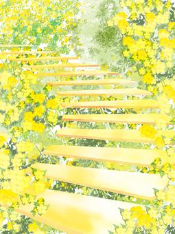 黃色花樓梯