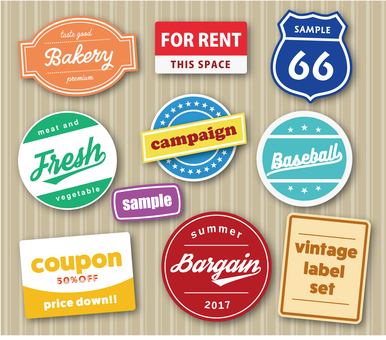 Vintage style label set illustration 2