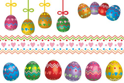 부활절 달걀 하트 무늬