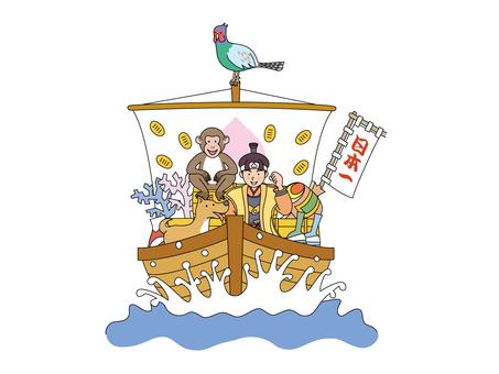 Momotaro and his colleagues on a treasure ship