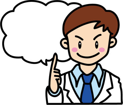 Person with speech bubble (male doctor etc)