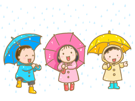 Children with umbrellas and raindrops