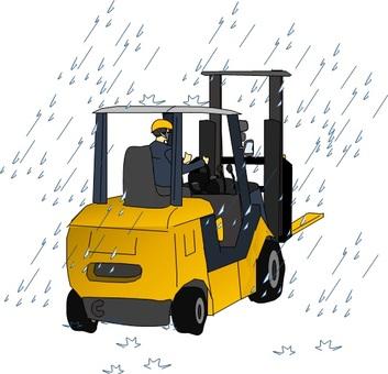 Lift work in the rain · sore wet