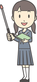 Junior high school sailor woman-224-whole body