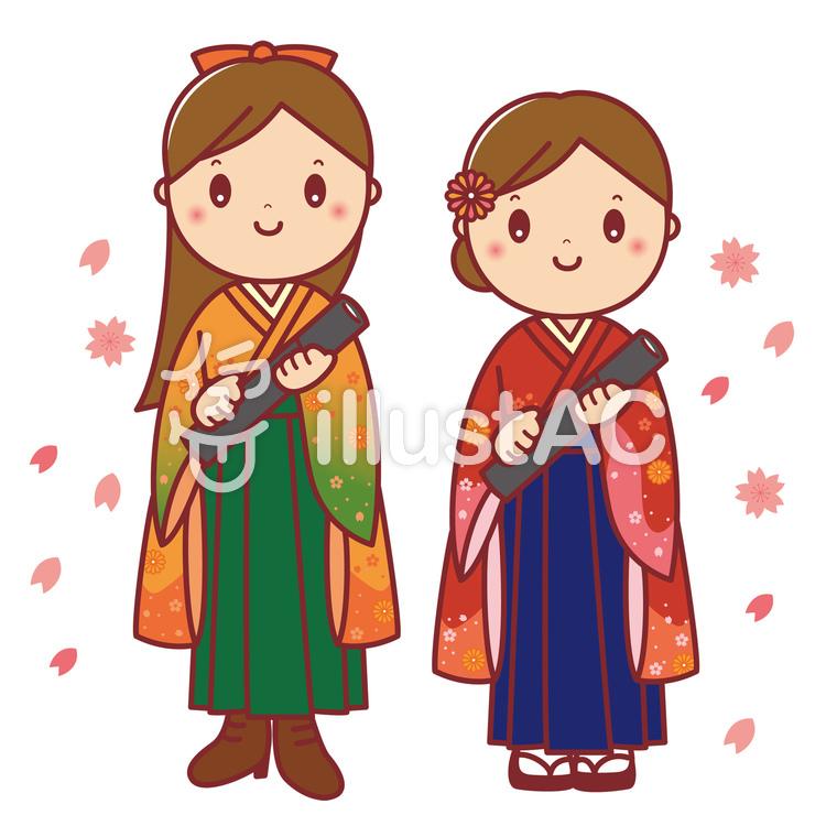 卒業証書を持つ袴姿の女子大生_03のイラスト